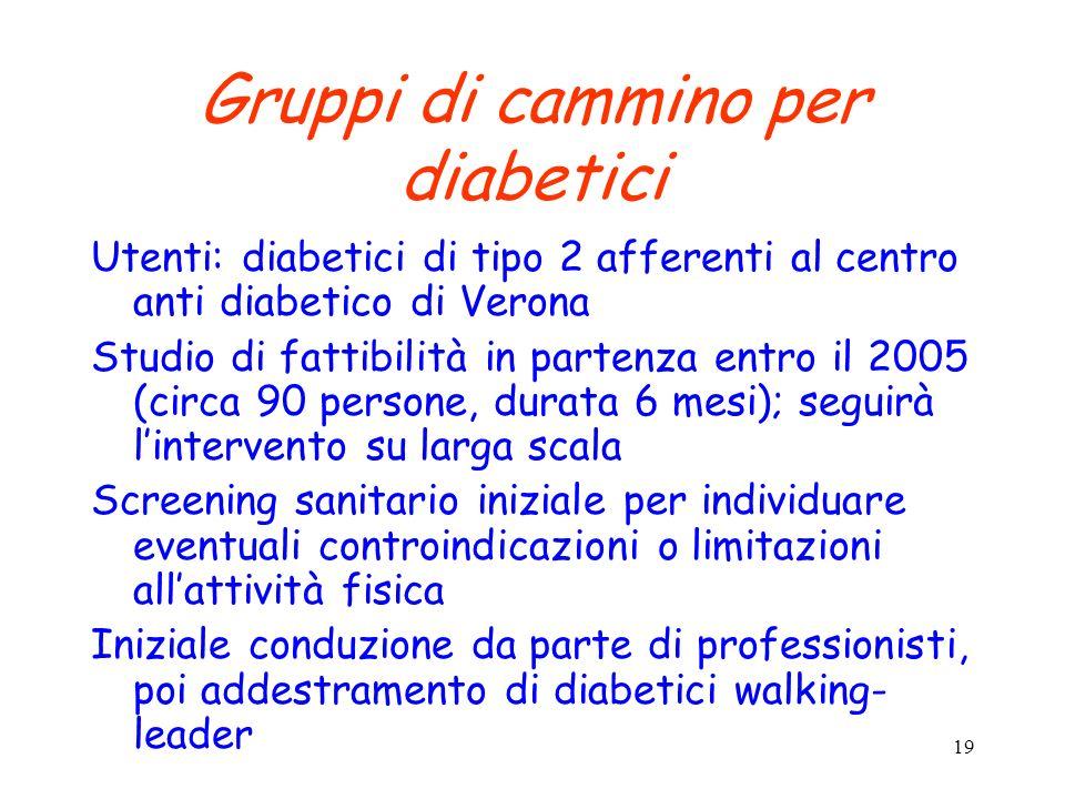 Gruppi di cammino per diabetici