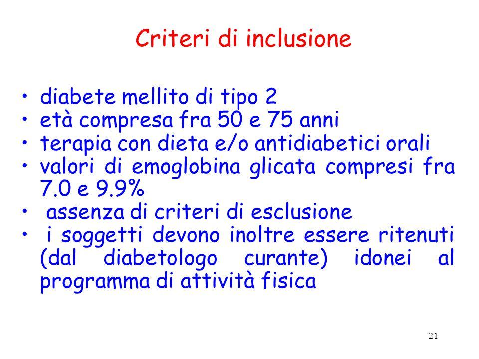 Criteri di inclusione diabete mellito di tipo 2