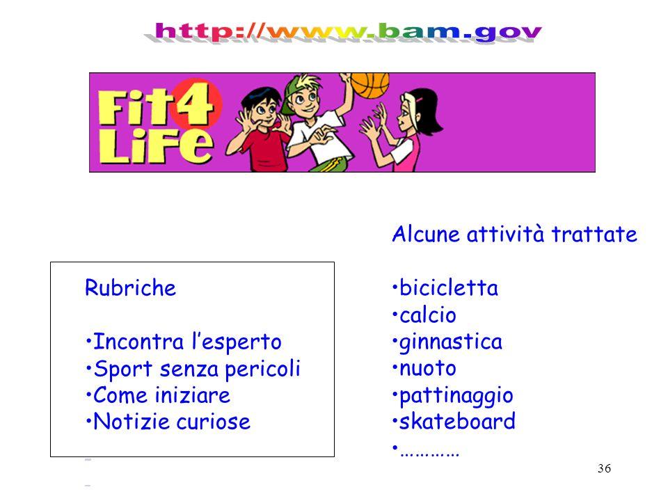 http://www.bam.gov Alcune attività trattate bicicletta calcio Rubriche