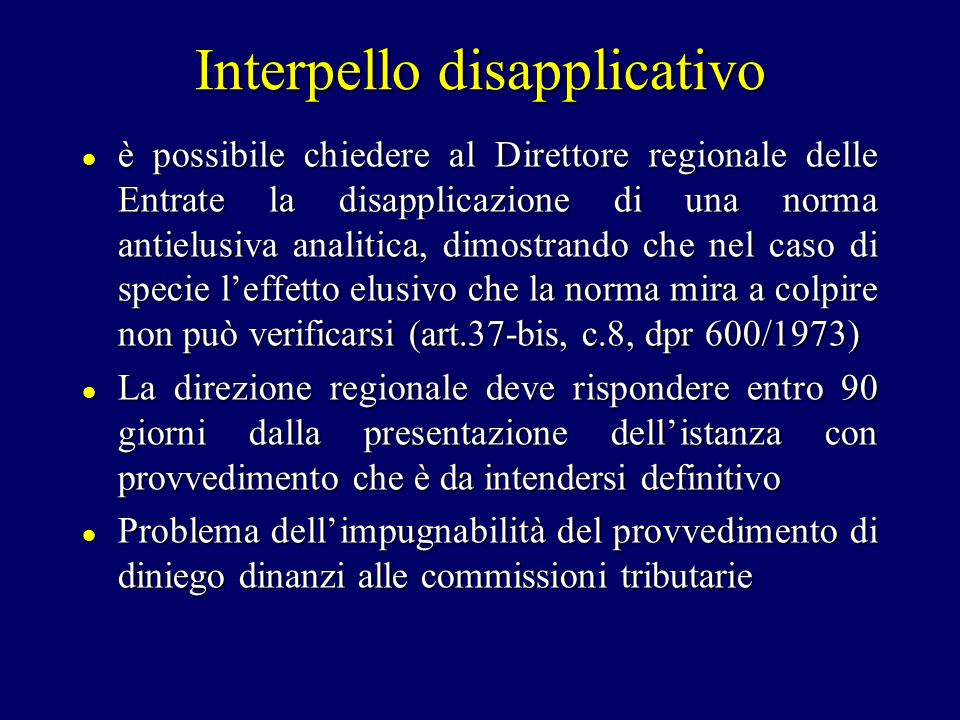 Interpello disapplicativo