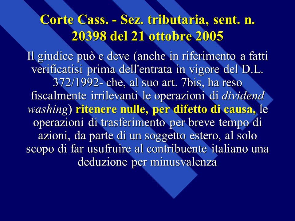 Corte Cass. - Sez. tributaria, sent. n. 20398 del 21 ottobre 2005