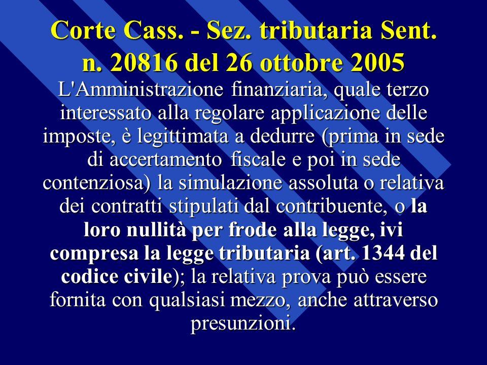 Corte Cass. - Sez. tributaria Sent. n. 20816 del 26 ottobre 2005