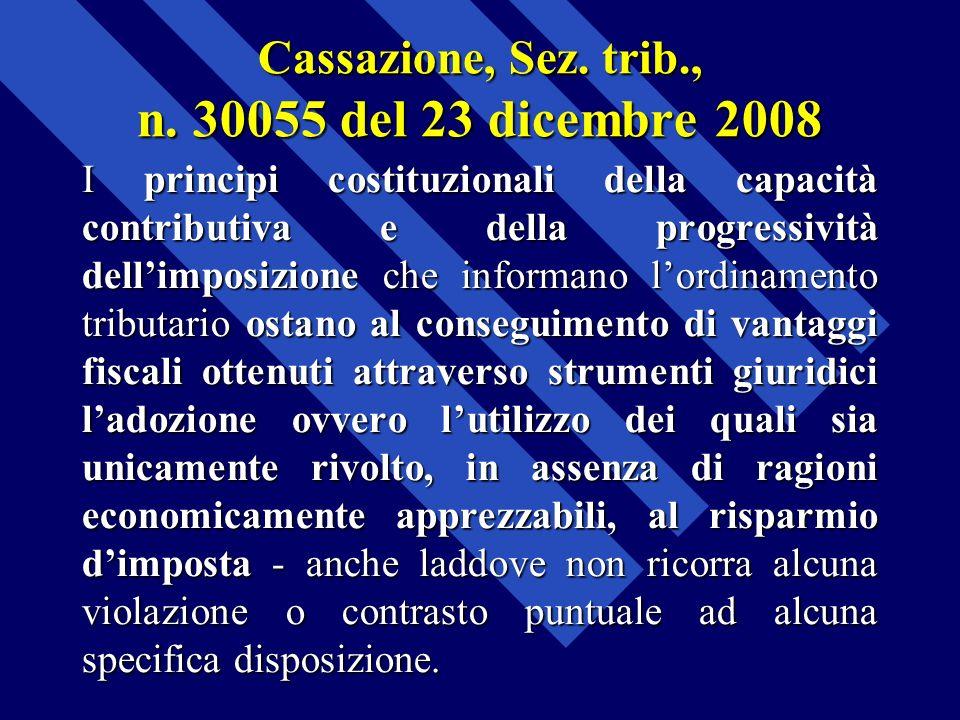 Cassazione, Sez. trib., n. 30055 del 23 dicembre 2008