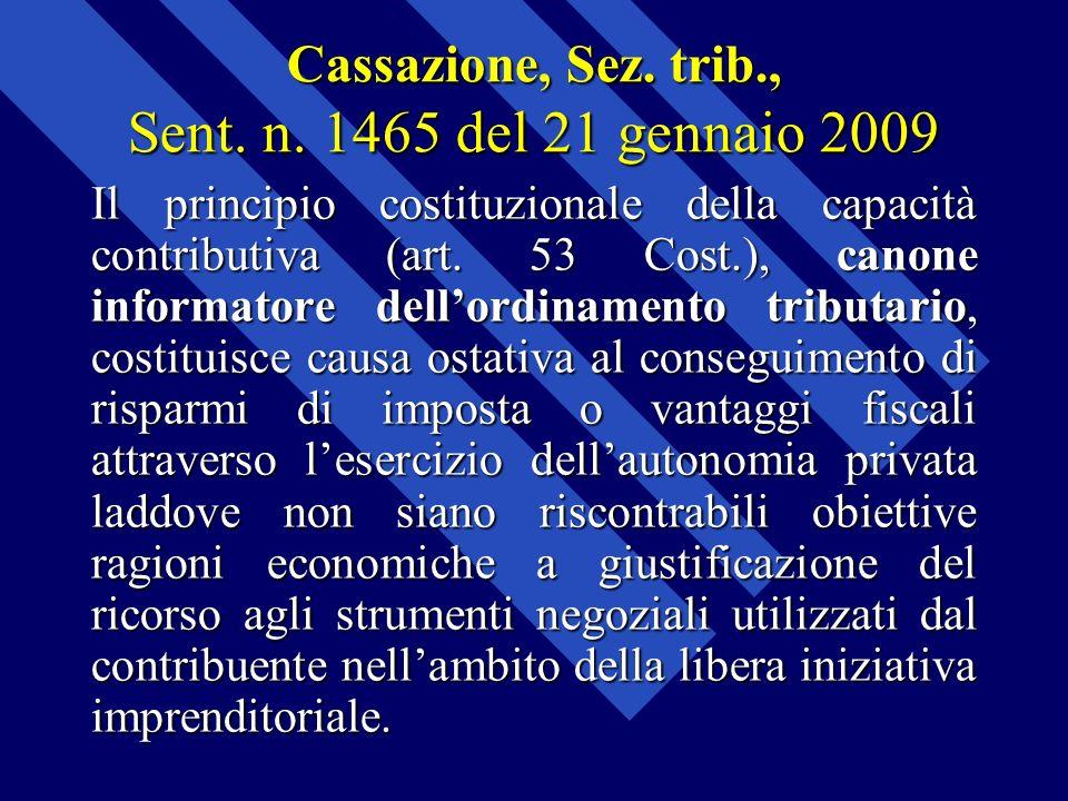 Cassazione, Sez. trib., Sent. n. 1465 del 21 gennaio 2009