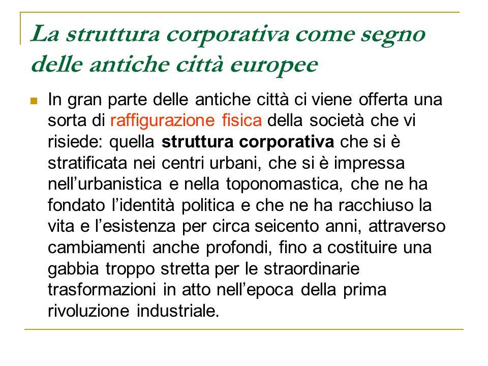 La struttura corporativa come segno delle antiche città europee