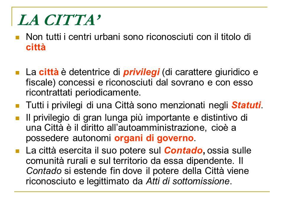 LA CITTA' Non tutti i centri urbani sono riconosciuti con il titolo di città.
