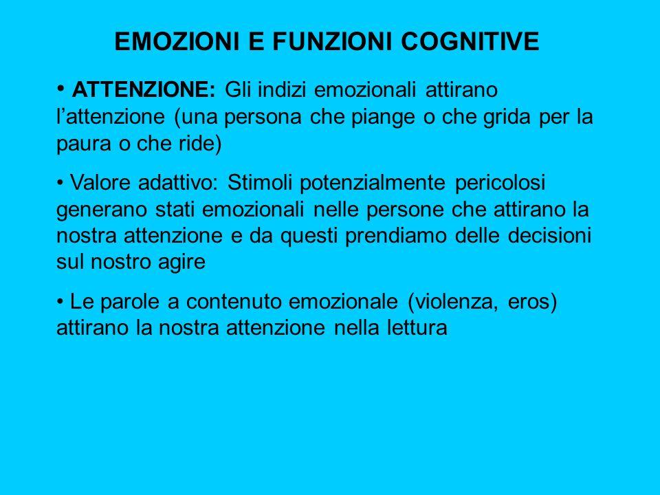 EMOZIONI E FUNZIONI COGNITIVE