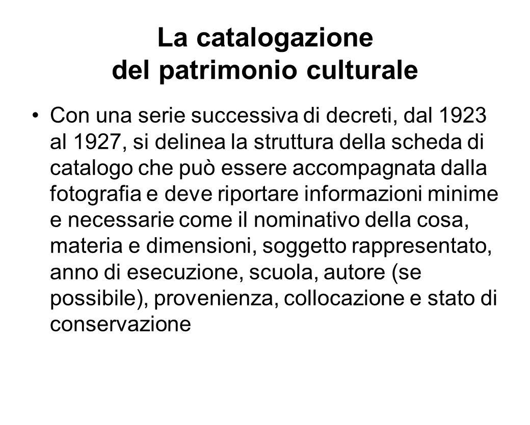 La catalogazione del patrimonio culturale