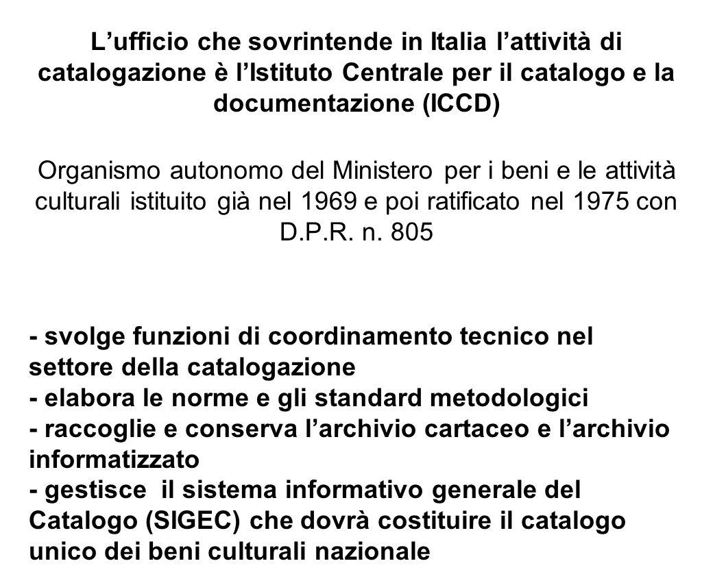 L'ufficio che sovrintende in Italia l'attività di catalogazione è l'Istituto Centrale per il catalogo e la documentazione (ICCD)