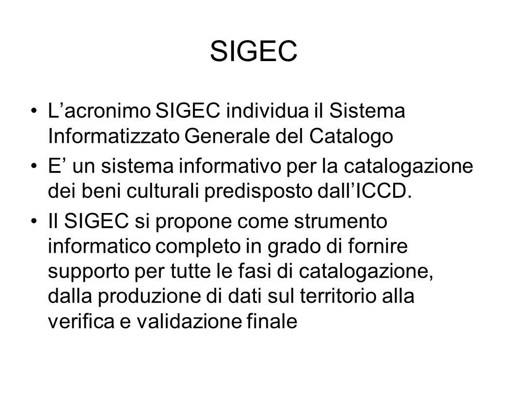 SIGECL'acronimo SIGEC individua il Sistema Informatizzato Generale del Catalogo.