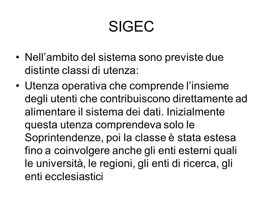 SIGEC Nell'ambito del sistema sono previste due distinte classi di utenza: