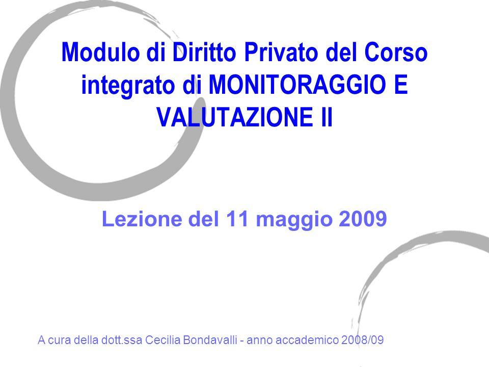 Modulo di Diritto Privato del Corso integrato di MONITORAGGIO E VALUTAZIONE II
