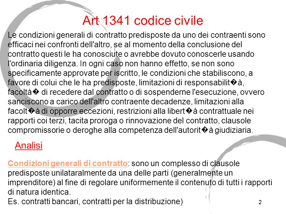 Art 1341 codice civile Analisi
