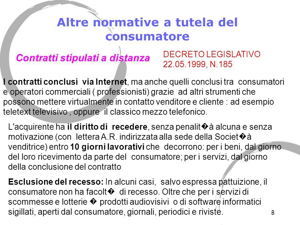 Altre normative a tutela del consumatore