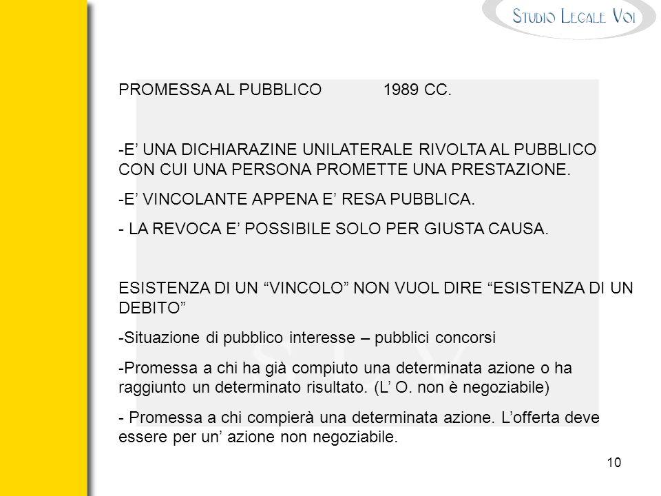 PROMESSA AL PUBBLICO 1989 CC.