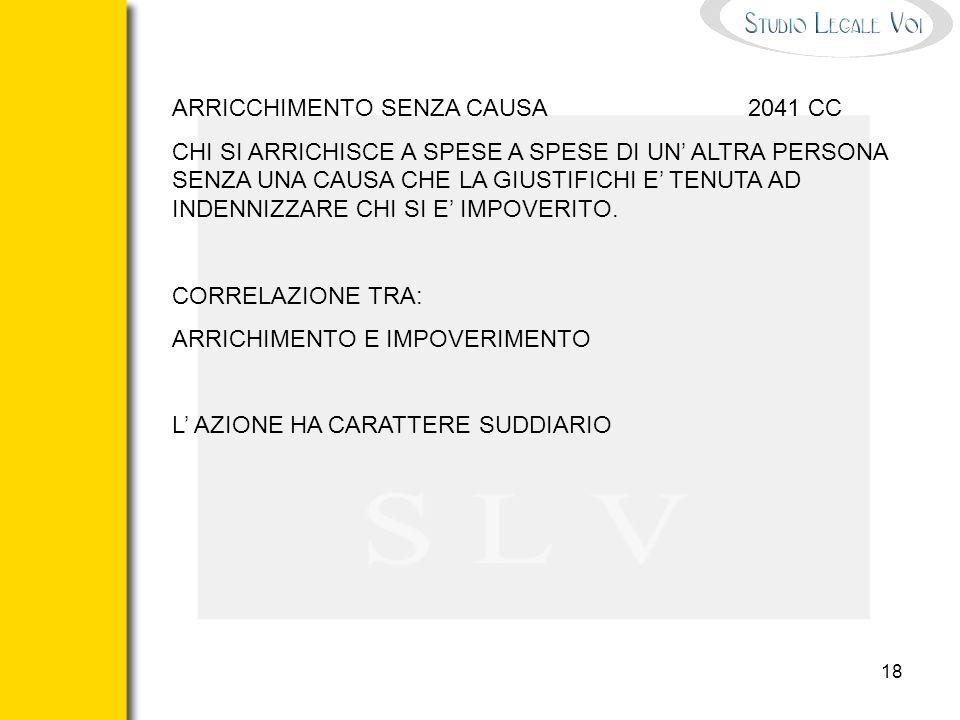 ARRICCHIMENTO SENZA CAUSA 2041 CC