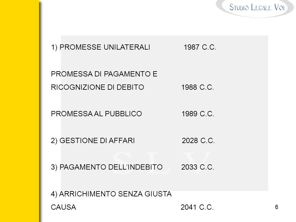 1) PROMESSE UNILATERALI 1987 C.C.