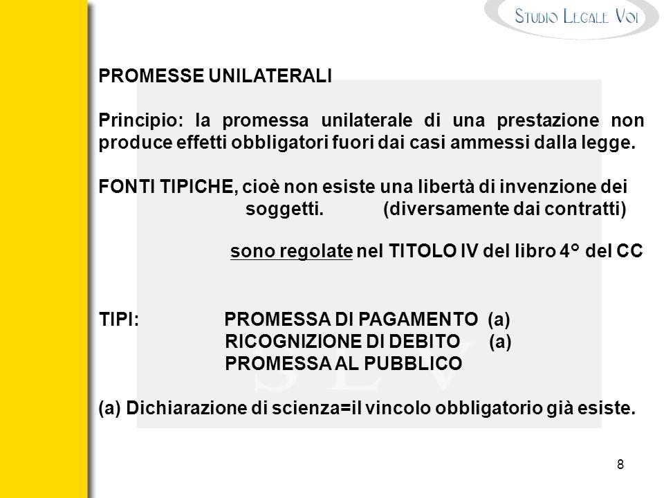 PROMESSE UNILATERALIPrincipio: la promessa unilaterale di una prestazione non produce effetti obbligatori fuori dai casi ammessi dalla legge.