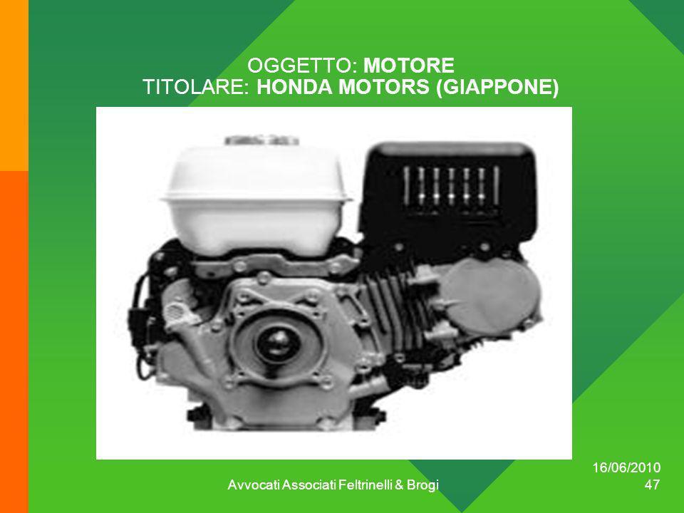 OGGETTO: MOTORE TITOLARE: HONDA MOTORS (GIAPPONE)