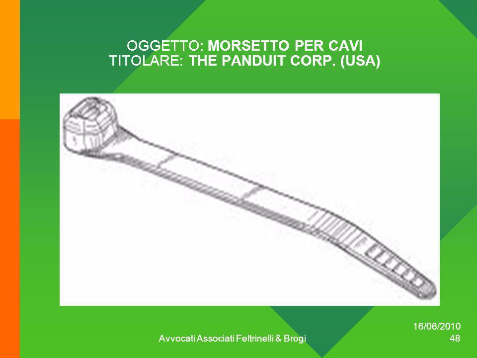 OGGETTO: MORSETTO PER CAVI TITOLARE: THE PANDUIT CORP. (USA)