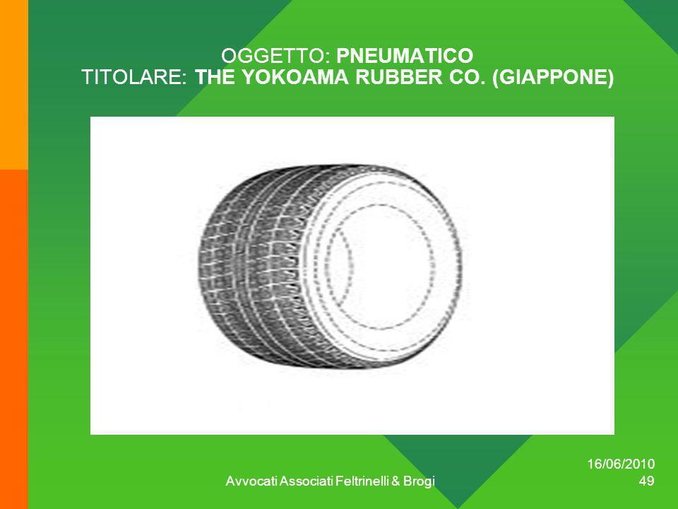 OGGETTO: PNEUMATICO TITOLARE: THE YOKOAMA RUBBER CO. (GIAPPONE)