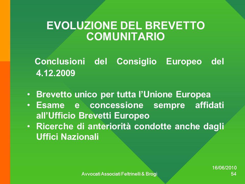 EVOLUZIONE DEL BREVETTO COMUNITARIO