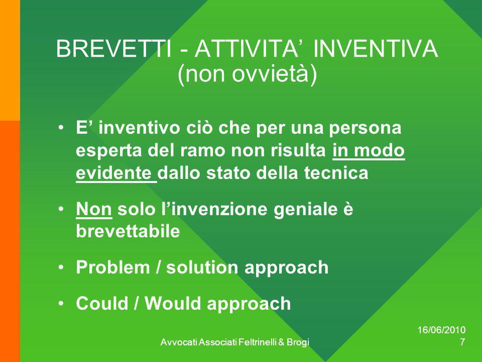 BREVETTI - ATTIVITA' INVENTIVA (non ovvietà)
