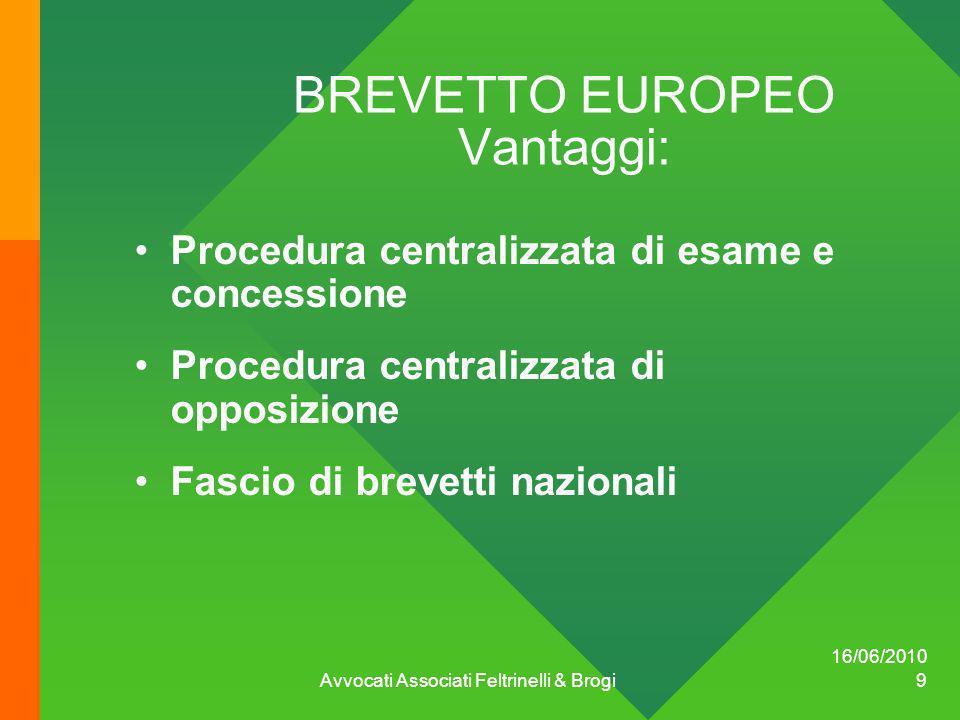 BREVETTO EUROPEO Vantaggi: