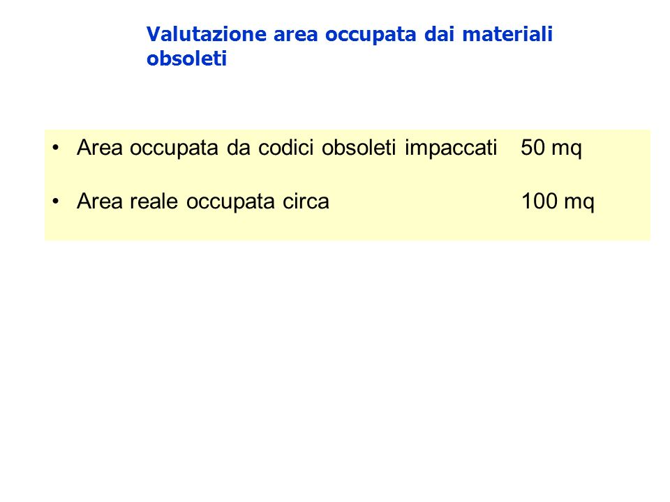 Valutazione area occupata dai materiali obsoleti