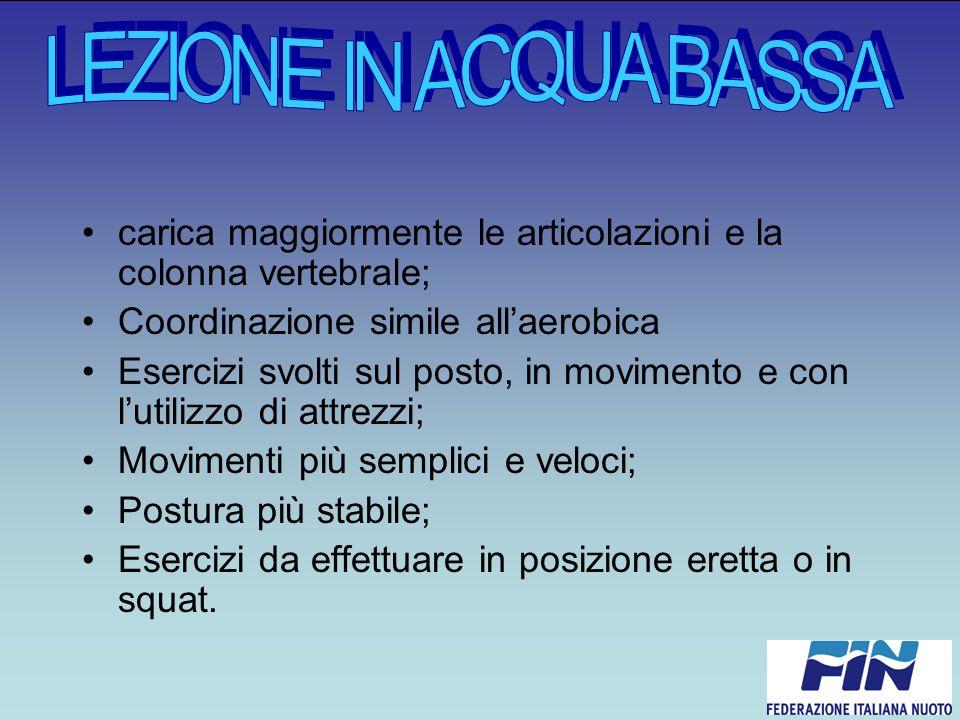 LEZIONE IN ACQUA BASSA carica maggiormente le articolazioni e la colonna vertebrale; Coordinazione simile all'aerobica.