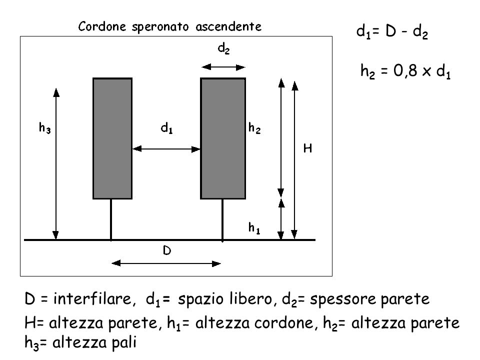 d1= D - d2 h2 = 0,8 x d1. D = interfilare, d1= spazio libero, d2= spessore parete. H= altezza parete, h1= altezza cordone, h2= altezza parete.