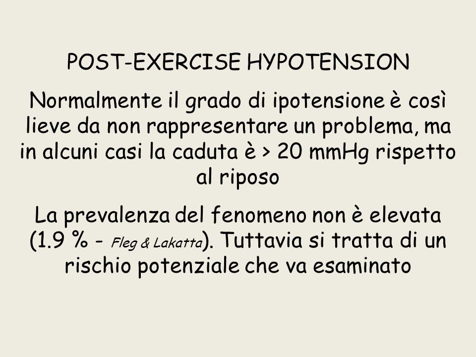 POST-EXERCISE HYPOTENSION