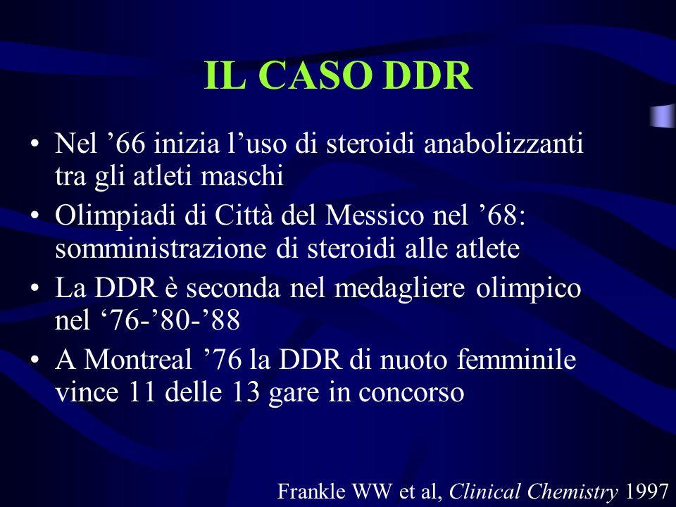 IL CASO DDR Nel '66 inizia l'uso di steroidi anabolizzanti tra gli atleti maschi.
