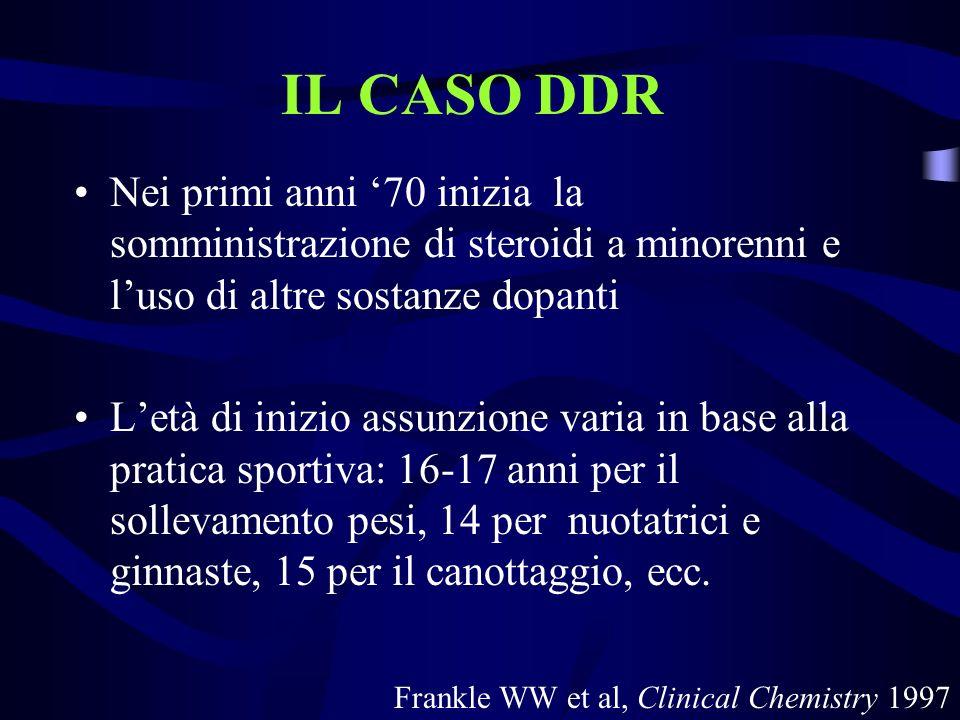 IL CASO DDR Nei primi anni '70 inizia la somministrazione di steroidi a minorenni e l'uso di altre sostanze dopanti.