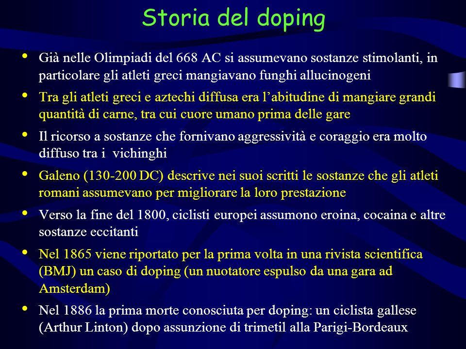 Storia del doping Già nelle Olimpiadi del 668 AC si assumevano sostanze stimolanti, in particolare gli atleti greci mangiavano funghi allucinogeni.
