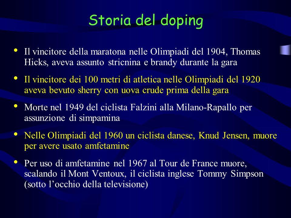 Storia del doping Il vincitore della maratona nelle Olimpiadi del 1904, Thomas Hicks, aveva assunto stricnina e brandy durante la gara.