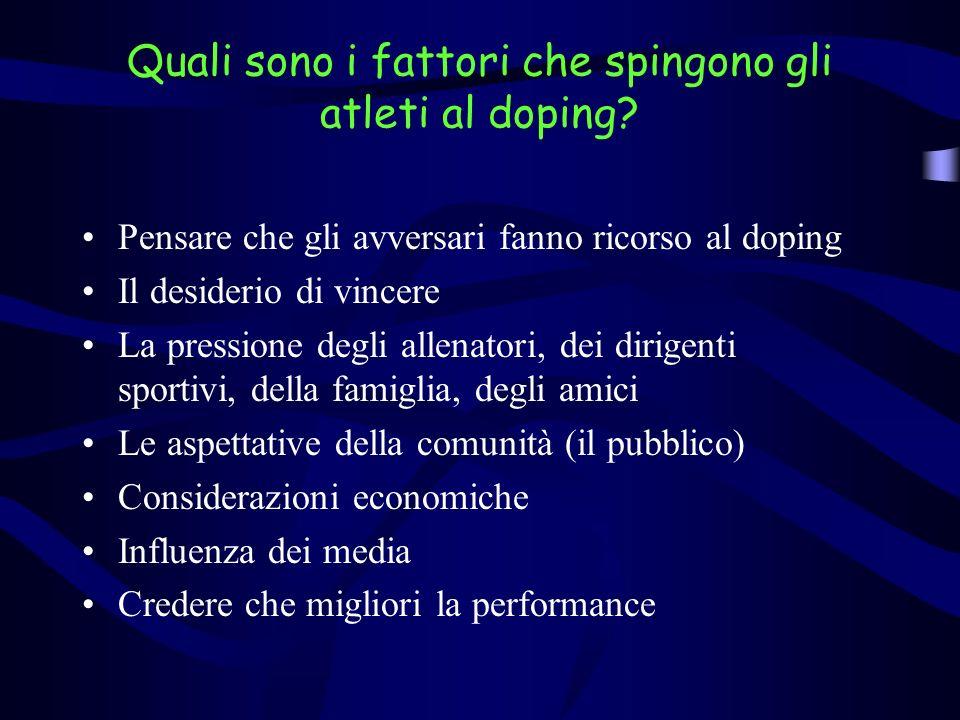 Quali sono i fattori che spingono gli atleti al doping