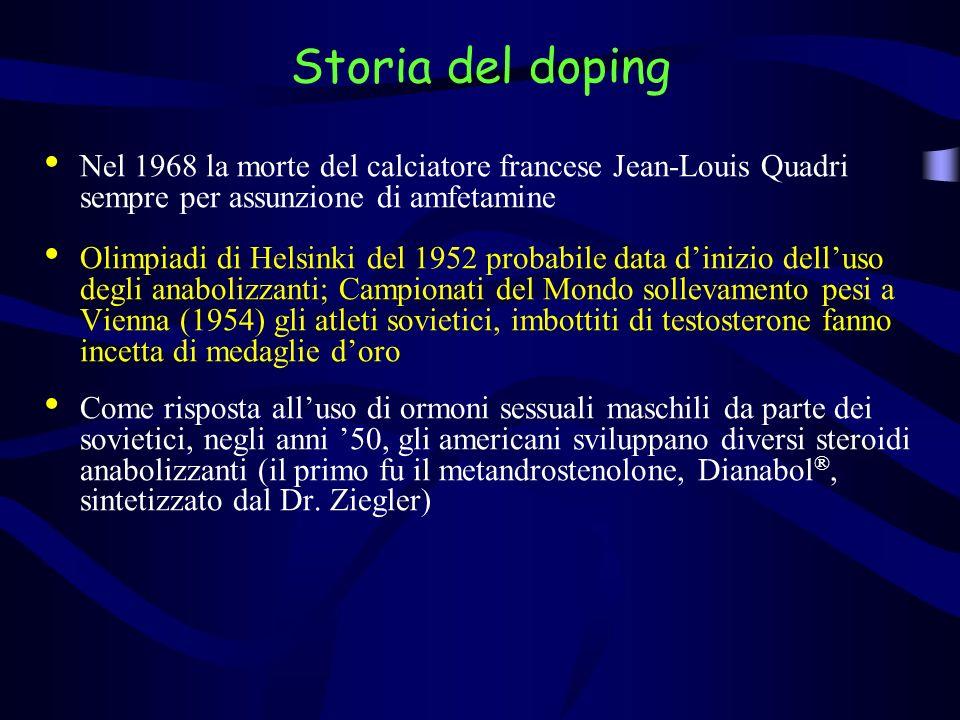 Storia del doping Nel 1968 la morte del calciatore francese Jean-Louis Quadri sempre per assunzione di amfetamine.