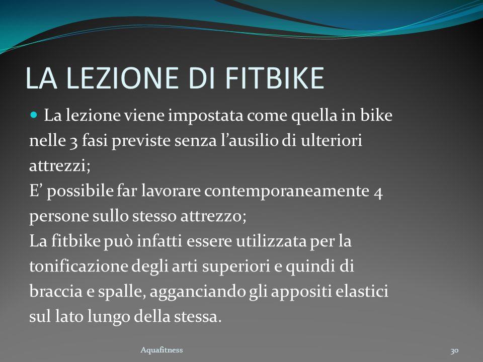 LA LEZIONE DI FITBIKE La lezione viene impostata come quella in bike