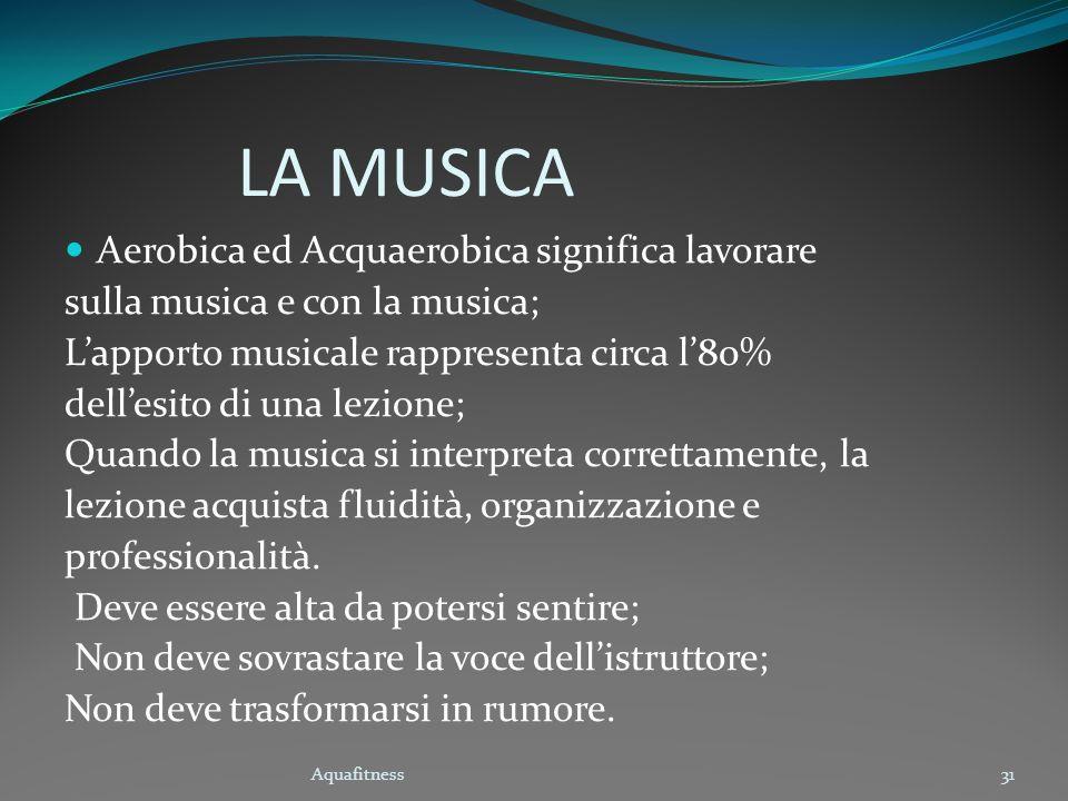 LA MUSICA Aerobica ed Acquaerobica significa lavorare