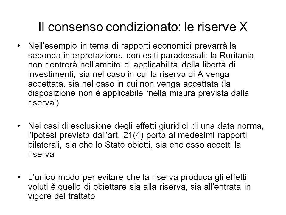 Il consenso condizionato: le riserve X