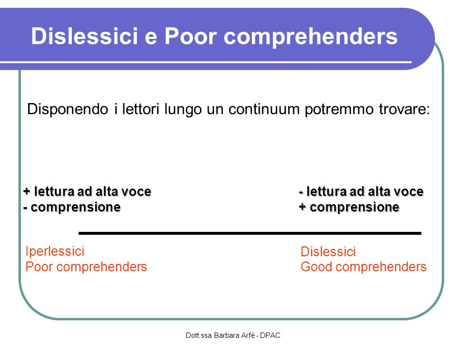 Dislessici e Poor comprehenders