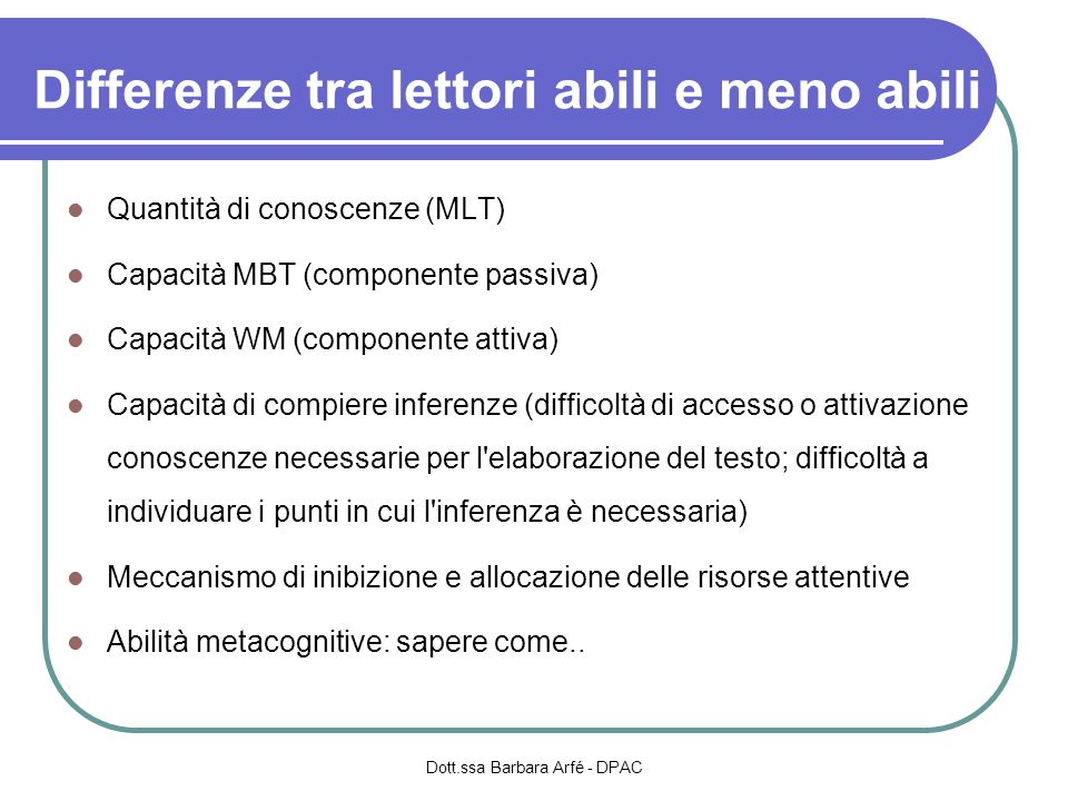 Differenze tra lettori abili e meno abili