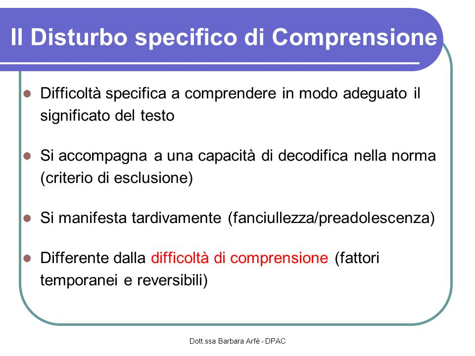 Il Disturbo specifico di Comprensione