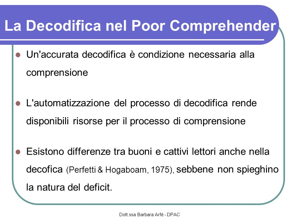 La Decodifica nel Poor Comprehender