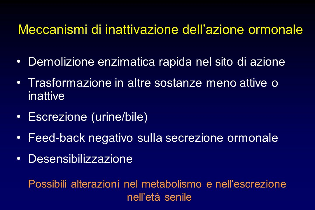 Meccanismi di inattivazione dell'azione ormonale