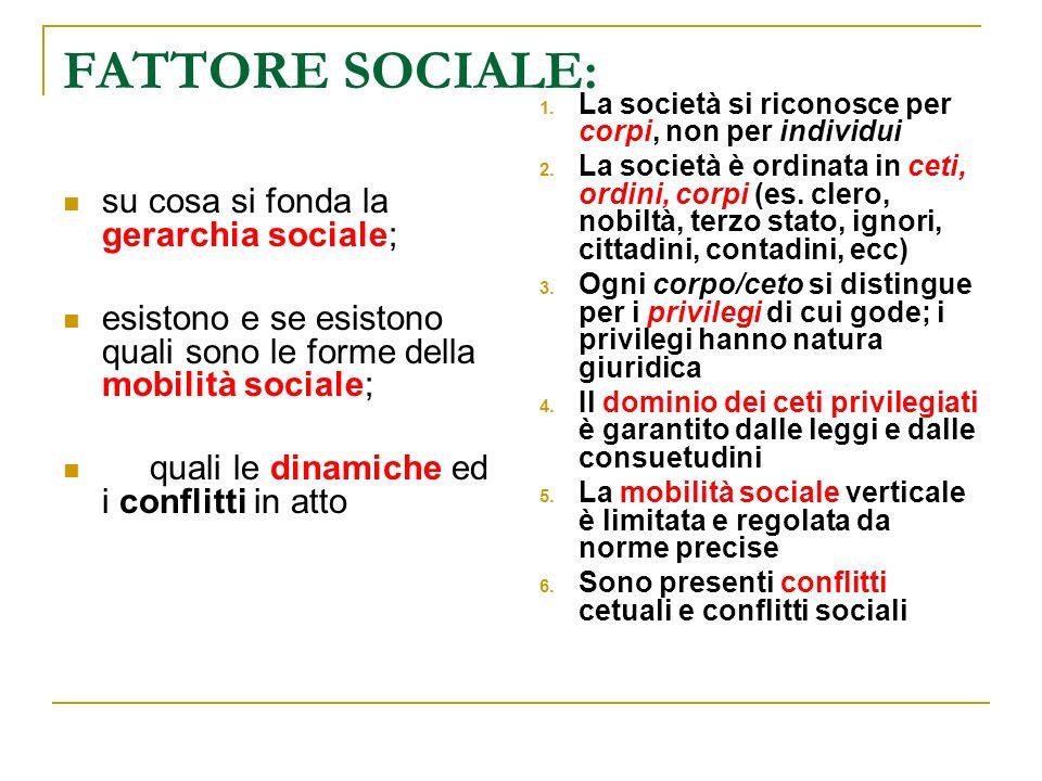 FATTORE SOCIALE: su cosa si fonda la gerarchia sociale;