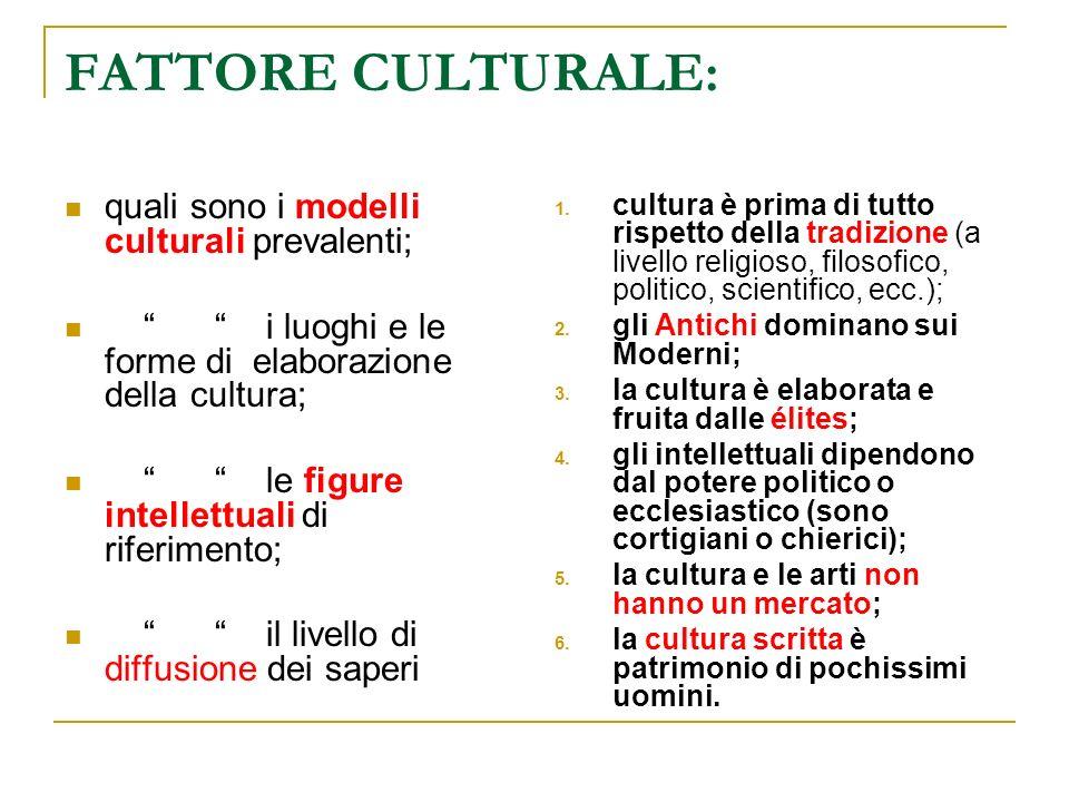 FATTORE CULTURALE: quali sono i modelli culturali prevalenti;