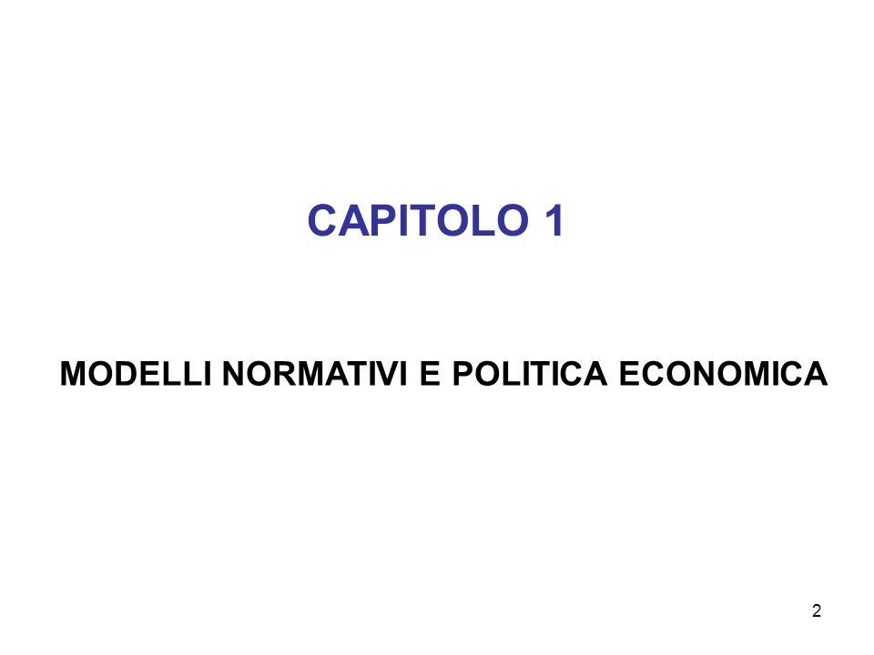 MODELLI NORMATIVI E POLITICA ECONOMICA