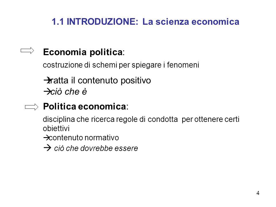 1.1 INTRODUZIONE: La scienza economica